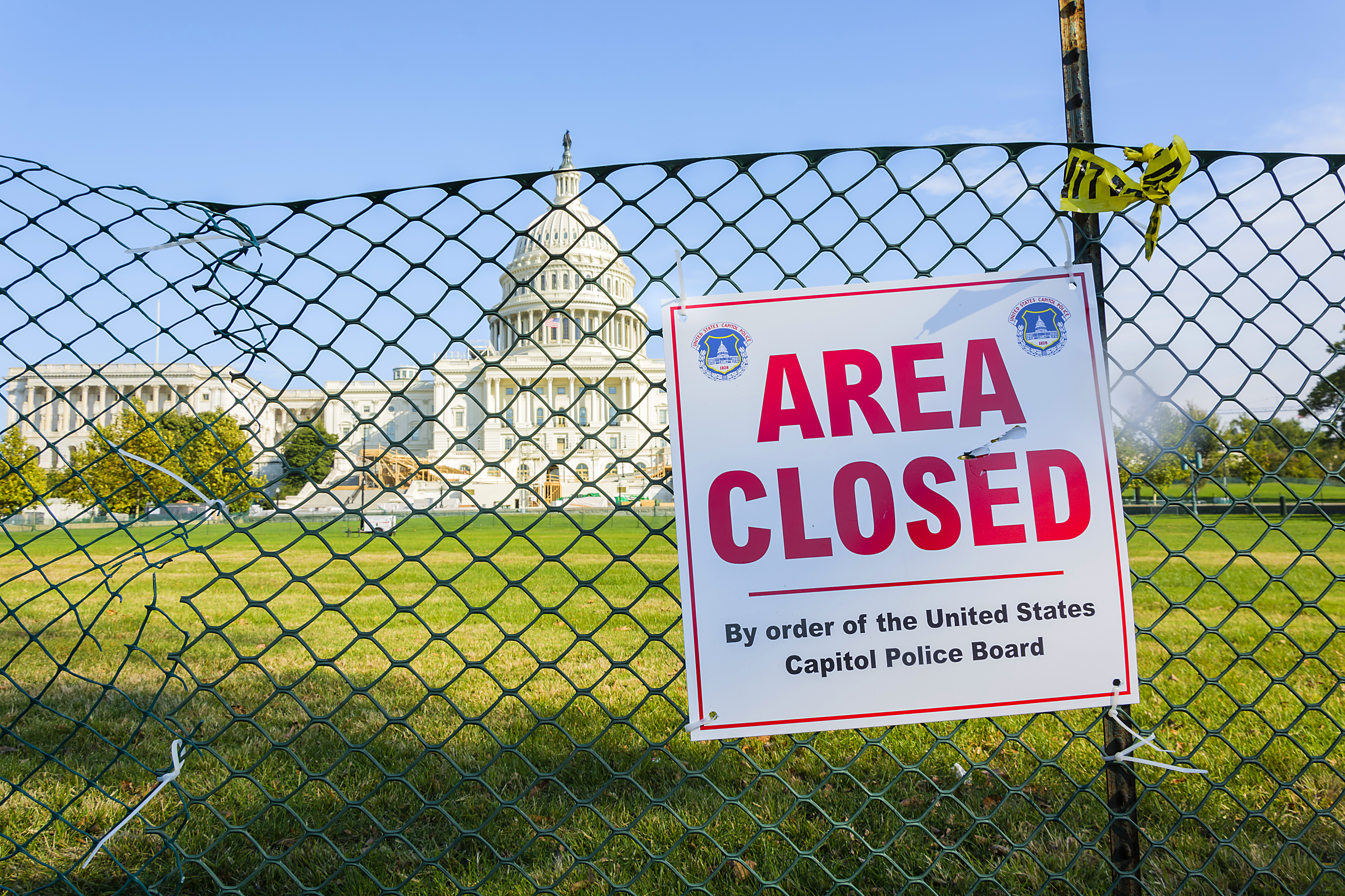 US Capitol grounds fenced off  Area Closed sign   Powers Law Firm